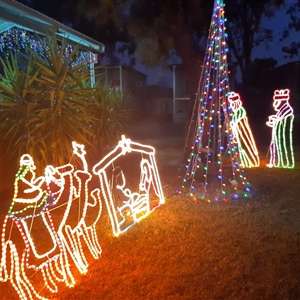 Pool Christmas Lights BBQ Area